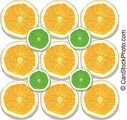 orange, blanc, citron, fond, tranches