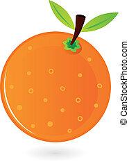 orange, blanc, fruit, isolé