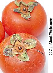 orange, blanc, persimmons, fond, isolé