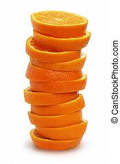 orange, blanc, pile, tranches