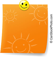 Orange Blank Sticky Note With Yellow Push Pin