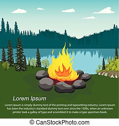 Orange blazing campfire by beautiful lake in evening with copyspace for text