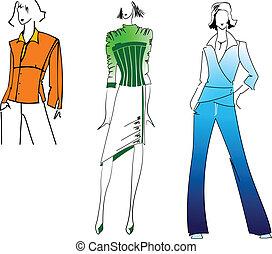 orange, bleu, girl, mode, vert