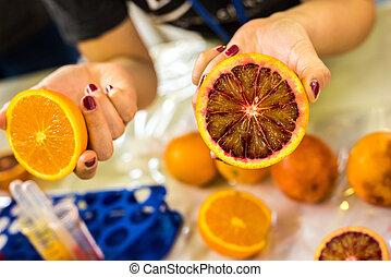 orange, bloodye, coupure, moitié
