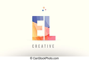 Orange blue alphabet letter al a l logo icon design with
