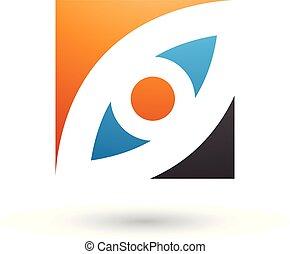 Orange Blue and Black Eye Shaped Square Vector Illustration