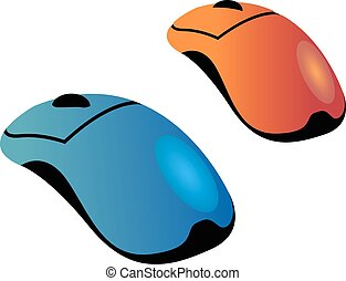 orange blue computer mouse