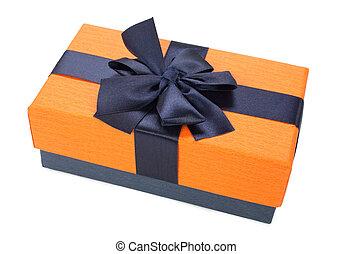 orange blue gift box with ribbon isolated on white