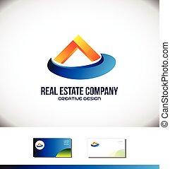 Orange blue real estate house logo