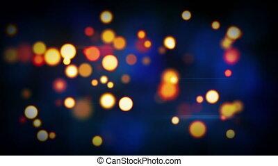 orange blue shining circle bokeh lights loop background