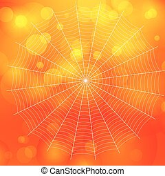 orange blurred bokeh halloween background with spiders web,...
