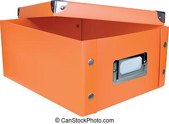 orange, boîte, stockage, ouvert