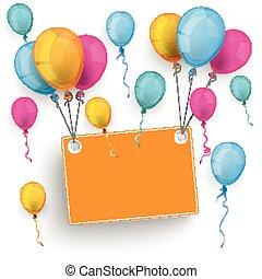 Orange Board Colored Balloons