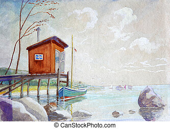 Orange boat shed in a low tide. - Beautiful beach and water...