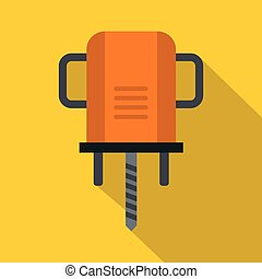Orange boer drill icon, flat style
