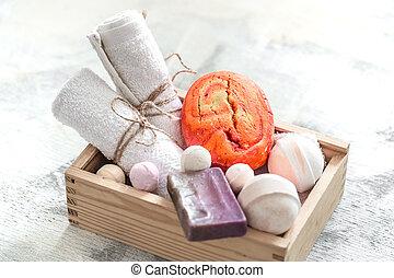 orange, bomb., bois, bain, personnel, serviette, soin, box., ou, produits, hygiène, spa, savon, concept, beauté