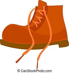 Orange boot, illustration, vector on white background.