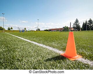 Orange border cone.  Soccer training court line