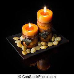 orange, bougies, deux