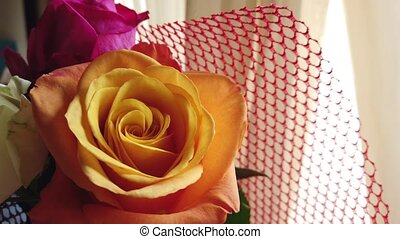 orange, bouquet, roses, grand plan, nuptial, rose.