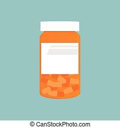 orange, bouteille pilule