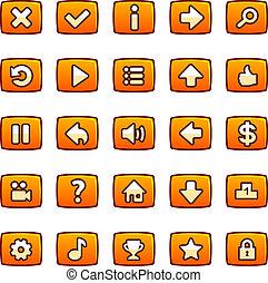 orange, boutons, pour, jeu, interface