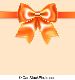Orange bow of silk ribbon, isolated on peach background