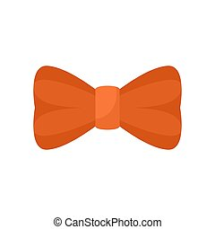 Orange bow tie icon, flat style
