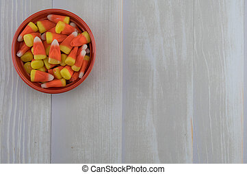 Orange Bowl of Candy Corns with Copy Space