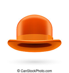 Orange bowler hat - Orange round traditional hat with...