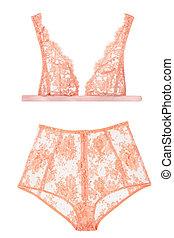 orange bra and panties, woman lingerie