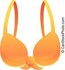 Orange bra icon, cartoon style
