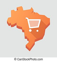 Orange Brazil map with a shopping cart
