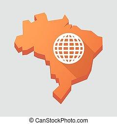 Orange Brazil map with a world globe