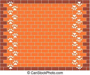 Orange brick wall graphic design with animal paw prints