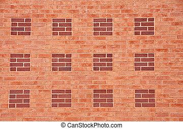 Orange Brick Wall with Red Brick Squares