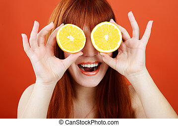orange, brille
