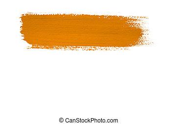 Orange brush stroke isolated on background