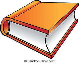 orange, buch, karikatur