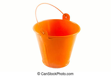 Orange bucket on white background