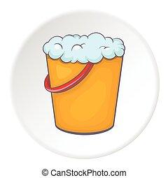 Orange bucket with foamy water icon, cartoon style