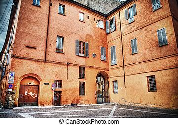 orange building in Bologna