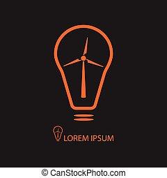 Orange bulb with wind turbine on black