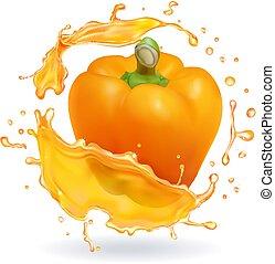 Orange bulgarian pepper bell realistic icon - Orange...