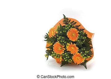Orange bunch of flowers - Orange gerberas in a bunch of...