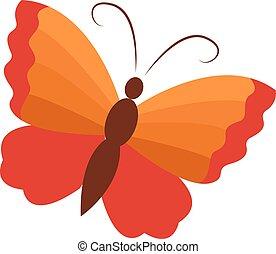 Orange butterfly, illustration, vector on white background.