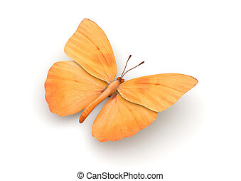 Orange Butterfly Isolated (3d isolated characters on white background series)
