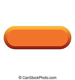 Orange button icon, flat style