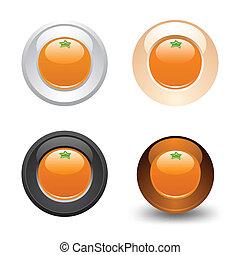Orange button, set, web 2.0 icons