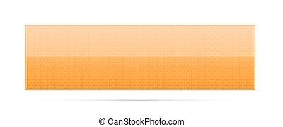 orange button with pattern